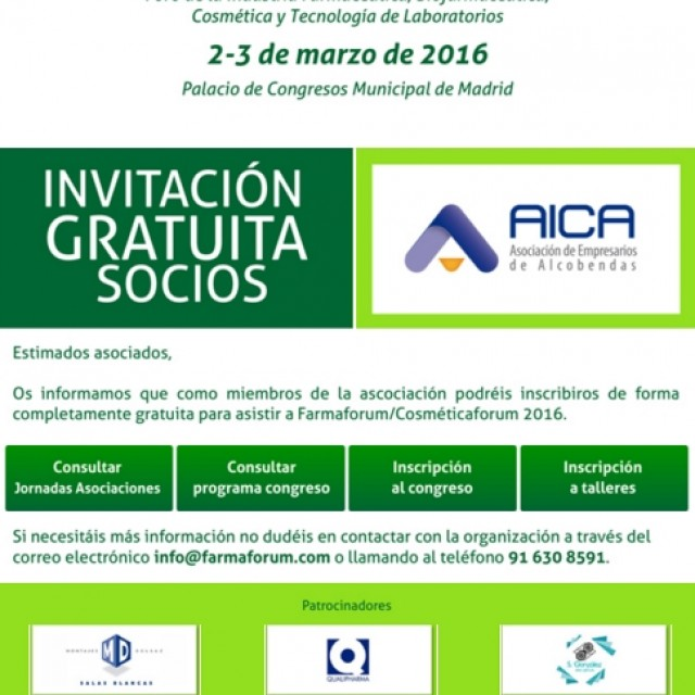 Invitación Gratuita a FARMAFORUM para socios de AICA