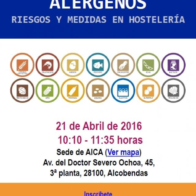 AICA organiza un Taller sobre Alérgenos para empresas del sector de la hostelería