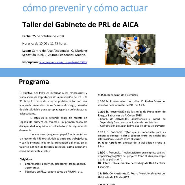 Taller PRL | El ictus en el entorno laboral: cómo prevenir y cómo actuar