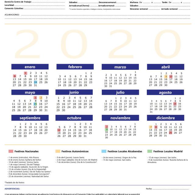 Calendario laboral 2020 con festivos