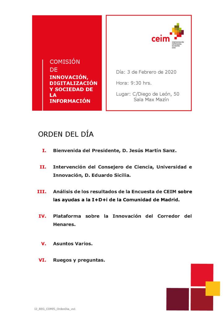 Orden del Día. Comisión Innovación (3.2.20)