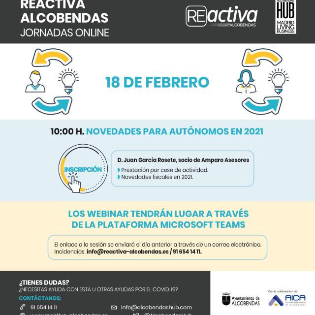 Webinar Reactiva Alcobendas – Novedades para autónomos en 2021